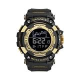 Men Digital Watches, Multifunctional Waterproof Sport Watch Men 50M Waterproof LED Digital Watches Big Dial Clock Wrist Watches for Male 1802 (Golden)
