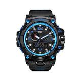 Military Men's Watches, Calssic Sport Watch Men 50M Waterproof LED Digital Watches Stopwatch Big Dial Clock for Male 1545 (Blue)