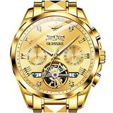 Swiss Brand Mens Automatic Watches Gold Self Winding Watches for Men No Battery Mechanical Tourbillon Skeleton Wrist Watch Day Date Waterproof Stainless Steel Big Face Dress Wristwatches Luminous