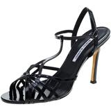 Patent Leather Cut Out T Strap Sandals Size 42 - Black - Manolo Blahnik Heels