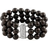 Triple Row Shell Pearl Bracelet - Black - Splendid Bracelets