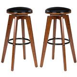 Glitzhome Swivel Pub Height Bar Stools Set of 2 Solid Bamboo Frame Kitchen Chairs, Natural Brown