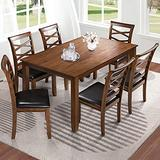 Savonnerie Furniture Dining Table Set for 6 Kitchen Room Rectangular Tables Wood Brown