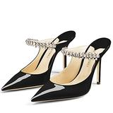 MIRAAZZURRA Women Heeled Mules Rhinestone Strappy Pointed Toe Mules Stiletto High Heels Slip On Bridal Sandals for Women 4 inches US Size 5 Black