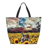 Astronaut Lost In A Galaxy Of Sunflowers Tote Bag One Shoulder Travel Bag Women Handbag Shoulder Bags Portable Satchel Bag