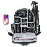 CADeN Camera Backpack Bag for DSLR/SLR Mirrorless Camera with USB Charging Port Professional Waterproof, Camera Case Compatible for Sony Canon Nikon Camera and Lens Accessories Grey