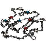 Colorful five-pointed star Mini Black Metal Chain Strap Replacement Handle Crossbody Shoulder Strap Handbag (length 59 inch)