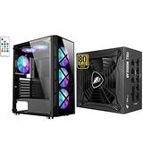 1STPLAYER Gaming PC Case,Compact Computer Case with Tempered Glass Panel with Computer Power Supplies,750W Fully Modular,80 Plus Gold Certified ATX Power Supply.