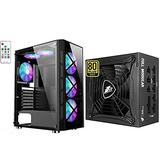 1STPLAYER Gaming PC Case,Compact Computer Case with Tempered Glass Panel with Computer Power Supplies,850W Fully Modular,80 Plus Gold Certified ATX Power Supply.