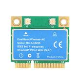 Wireless Network Card, 2 in 1 Mini PCI-E 1200Mbpas 2.4G/5G Dual Band Wireless Network Card Practical Versatile Mini PCI-E Wireless Network Card with High Performance