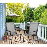 (US Stocked & Dispatched) Set of 2 Patio Dining Chairs, Outdoor Chairs, Portable Folding Chairs for Camping Pool Beach Deck, Lawn Chair with Armrest, 2-Pack Patio Chairs, Metal Frame, Grey