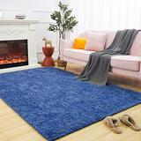 Maxsoft Fuzzy Rugs for Living Room, Navy Blue Shag Rugs for Bedroom, 5 x 8 Feet, Fluffy Room Carpets for Girls, Kids, Plush Furry Area Rugs for Nursery, Bedside, Floor