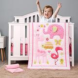 Brandream Pink Elephant Crib Bedding Sets for Baby Girls   8-Piece Nursery Set, Flamingo, Giraffe, Woodpecker, Tortoise, Butterfly Floral - Animal Zoo Theme