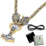 QZY Men's Heavy Bicolor Byzantine Necklace,Authentic Viking Necklacks Norse Thor's Hammer Mjolnir Celtic Knot Pendant,New Titanium Steel Wolf Head Amulet,Square Chain,70CM