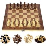 ZHZHUANG Chess Set Folding International Chess Set 3In1 Magnetic Board Game Puzzle Game for Kids Toys Gift International Chess Wooden Chess,29X29Cm