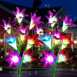 Outdoor Solar Garden Stake Lights, [4 Pack] Solar Flower Lights with 16 Bigger Lily Flowers Garden Lights Solar Powered 7-Color Changing Solar Garden Lights Outdoor Decorative for Patio,Yard,Pathway