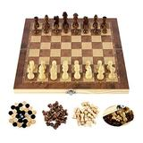 ZHZHUANG Chess Set Folding International Chess Set 3In1 Magnetic Board Game Puzzle Game for Kids Toys Gift International Chess Wooden Chess,24X24Cm