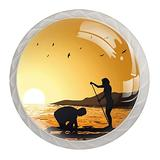 Paddleboard Sunset Knobs for Dresser Drawers 4 Pack Round Glass Cabinet Knobs for Dresser Cabinets with Screws Crystal Glass Drawer Cabinet Pull Knob Handle Kitchen Door Wardrobe Hardware