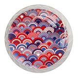 Red Navy White Fish Scale Pattern Cupboard Cabinet Knobs 4 Pack Round Glass Cabinet Knobs for Dresser Cabinets with Screws Crystal Glass Drawer Cabinet Pull Knob Handle Kitchen Door Wardrobe Hardware 4 Pack