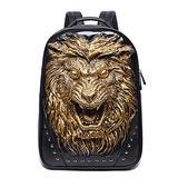 GJF Men's Fashion Backpack 3D Animal Head Backpack, Studded PU Leather Cool Laptop Backpack, College School Bag Gold