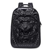 GJF Men's Fashion Backpack 3D Animal Head Backpack, Studded PU Leather Cool Laptop Backpack, College School Bag Black