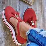 Women Tassel Thick Bottom Buckle Strap Round Toe Shoes,Spring Canvas Ladies Platform Sandals,Casual Tassel Sandals,Women Platform Shoes,Summer Round Toe Closed Toe Wedge Shoes (37, Red)