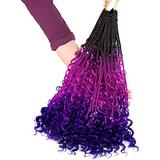 Well 22 Pcs/100g 24'' Braiding Hair Extensions Braiding Hair Synthetic Braid Hair Extensions (Purple&Blue&Purple&Yellow&Red) red (Color : Purple)