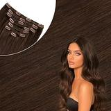 Affordhair Chocolate Brown Human Hair Clip in Extensions, Soft Straight Real Human Hair Clip in Hair Extensions, 7pcs, 110g, 16 Inch