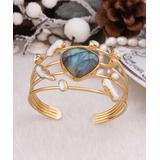 Handmade Art Women's Bracelets Gray - Labradorite & Pearl Openwork Cuff