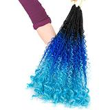 Well 22 Pcs/100g 24'' Braiding Hair Extensions Braiding Hair Synthetic Braid Hair Extensions (Purple&Blue&Purple&Yellow&Red) red (Color : Blue)