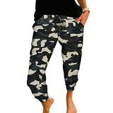 ROSKIKI Womens Ladies Plus Size Lightweight Sweatpants Camouflage Print Activewear Casual Drawstring Elastic Waist Yoga Fit Joggers Pants Workout Track Long Pants with Pockets Bottom Trousers 4X-Large