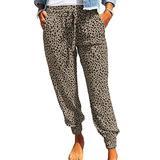 ROSKIKI Womens Plus Size Joggers Pants for Women with Pockets Comfy Leopard Print Drawstring Elastic Waist Sweatpants Workout Trousers Long Pants Khaki 3X-Large
