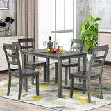 August Grove® 5-Piece Kitchen Dining Table Set Wood Table & Chairs Set (Grey) Wood in Gray, Size 30.0 H x 45.5 W x 30.0 D in | Wayfair