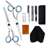 Symple Stuff Scissors Kit Hairdressing Hair Cutting Tail Comb Set 10 PCS Hairstyle Care Gadge Plastic/Metal, Size 3.15 H x 3.94 W x 5.91 D in