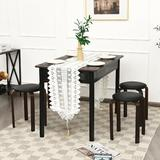 Orren Ellis Set Of 4 Bentwood Round Stool Stackable Dining Chair w/ Padded Seat Wood/Upholstered in Black | Wayfair