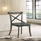 Rosalind Wheeler Kendric Side Chair w/ An X-Shape Support. (Set-2), Rustic Gray Wood in Brown/Gray/Green, Size 35.0 H x 17.0 W x 17.0 D in | Wayfair