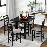 Red Barrel Studio® 5-Piece Wooden Counter Height Dining Set, Square Dining Table w/ 2-Tier Storage Shelving & 4 Padded Chairs in Brown/Gray/Green