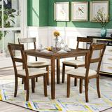 Red Barrel Studio® 5 Piece Dining Table Set Industrial Wooden Kitchen Table & 4 Chairs For Dining Room (American Walnut)Wood/Upholstered Chairs