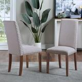 Red Barrel Studio® Set Of 2Upholstered Dining Chairs - Dining Chairs Fabric Dining Chairs w/ Copper Nails & Solid Wood LegsWood/Upholstered/Fabric