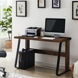 "Inbox Zero Home Office Computer Desk, Modern Student Desk, Laptop Study Table 39"" Writing Desk Wood/Metal in Black/Brown/Gray | Wayfair"