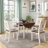 August Grove® Dining Table Set Round Wood Drop Leaf 5 Piece Dining Set w/ 4 Cross Back Chairs For Small Place, White+ Cherry Wood, Size 30.0 H in