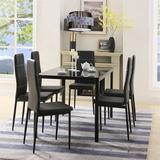 Latitude Run® 7 Piece Kitchen Dining Set, Glass Table Top w/ 6 Leather Chairs,Black Glass/Metal/Upholstered Chairs in Black/Gray/Green | Wayfair
