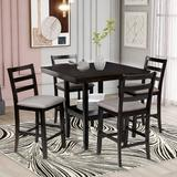 Red Barrel Studio® Wooden Counter Height Dining Set w/ Padded Chairs & Storage Shelving Wood/Upholstered Chairs in Black/Brown/Green, Size 36.0 H in