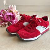 Michael Kors Shoes   Michael Kors Red Suede Allie Trainers Sneakers 8m   Color: Red/White   Size: 8