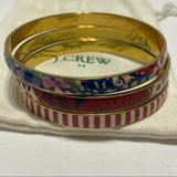 J. Crew Jewelry | J Crew Enamel Gold Tone Bangle Bracelet Lot 3 | Color: Gold | Size: Os
