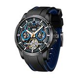 Automatic Watches for Men, Auto Mechanical Watch, Luxury Stainless Steel Skeleton Luminous Date Wrist Watch, Self Winding Mechanical Fashion Sport Wrist Watches, Racer Style Wrist Watches AAQ
