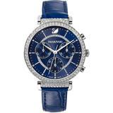 Swiss Chronograph Passage Blue Crocodile Leather Strap Watch 35mm - Blue - Swarovski Watches