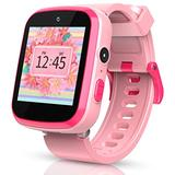 Smart Watch for Kids, Pink and Blue Color with HD Dual Camera Touch Screen Smart Learning Watch Educational Toys with Flashlight Music Player Multi-Function for Kids Age 3-12