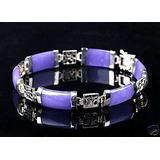 BDC-04986 Beads DIY Crafts Natural Jade & Agate & Turquoise Gemstone Lucky Link Bracelet Silver/Gold Plated - ( Color: Silver-Purple Jade )