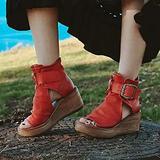Vetcoy Women's Boho Comfy Buckle Wedge Sandals - Sandals for Women Wedge, 2021 Fashion Ankle Buckle Sandals Womens Platform Wedge Sandal Ankle Strap Open Toe Sandals High Heel (Red, 7)